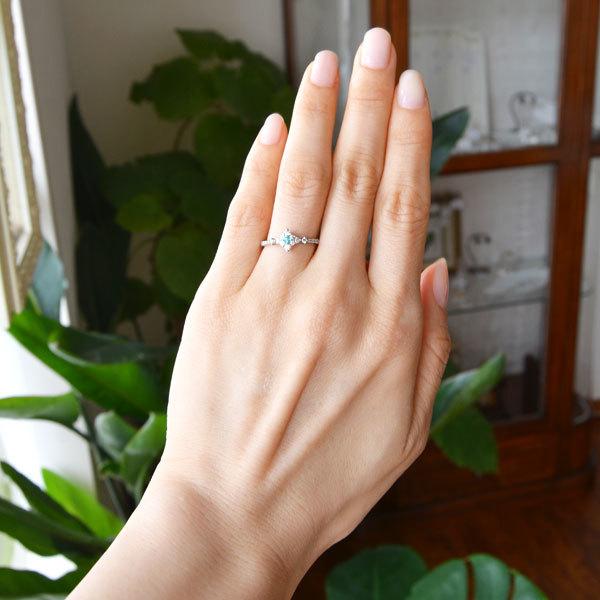 Pt900製プラチナパライバトルマリンダイアモンドリング指輪
