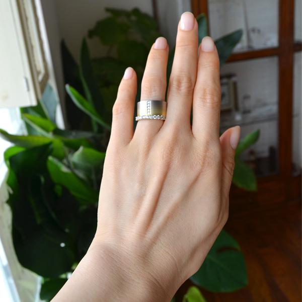 K18YG~K18WG製グラデーションダイアモンドリングダイアモンドハーフエタニティリング指輪