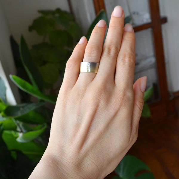 K18YG~K18WG製グラデーションダイアモンドリング指輪