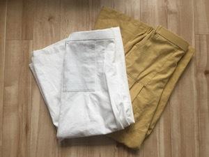 タックパンツ白、黄色