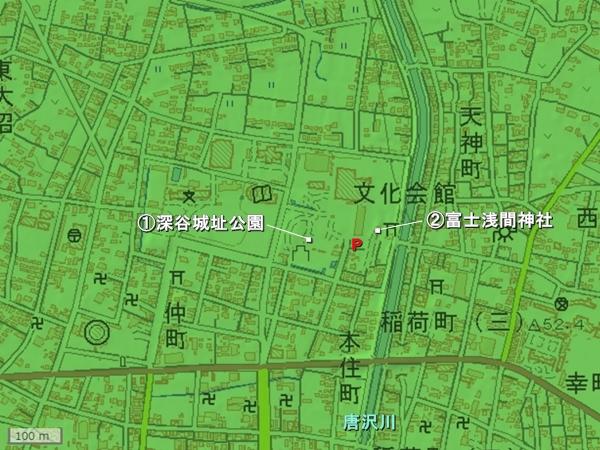 深谷城地形図