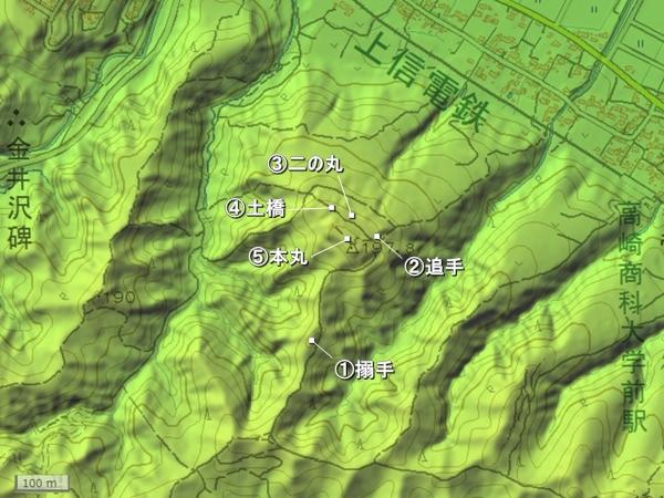 根小屋城地形図