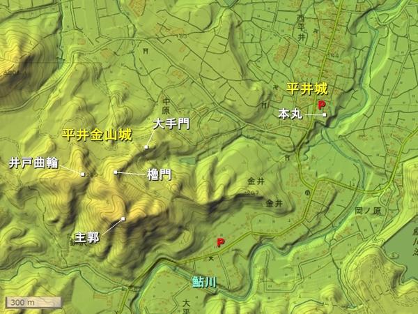 平井城地形図