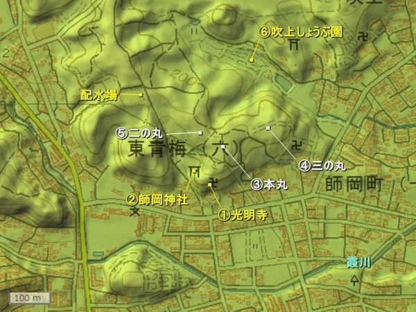勝沼城地形図