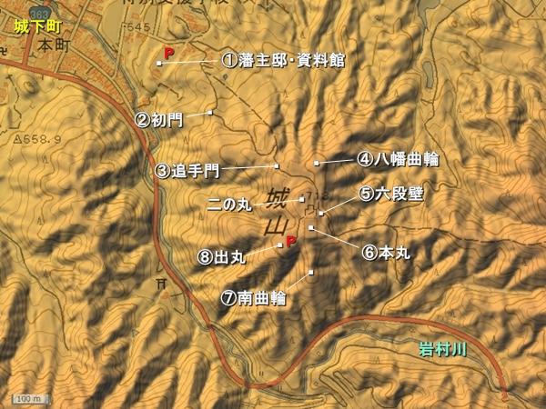 岩村城地形図