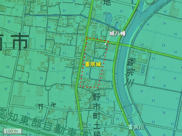 香宗城地形図