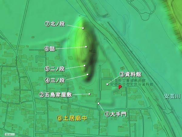 安芸城地形図