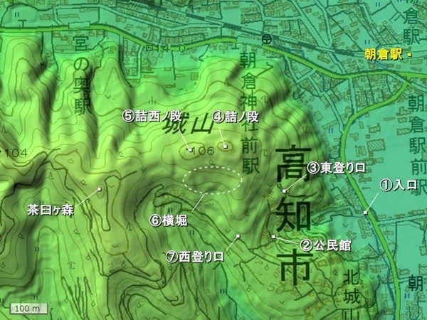 朝倉城地形図
