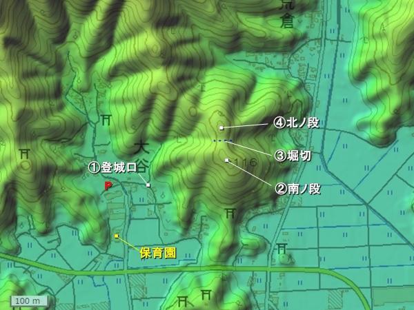 吉良城地形図