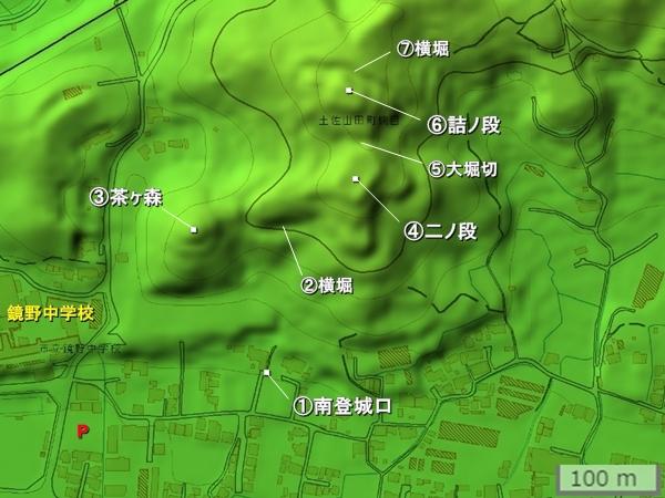 楠目城地形図