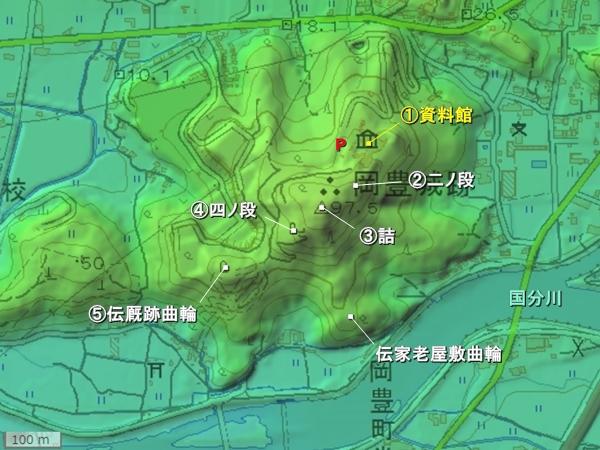 岡豊城地形図