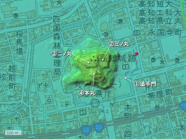 高知城地形図
