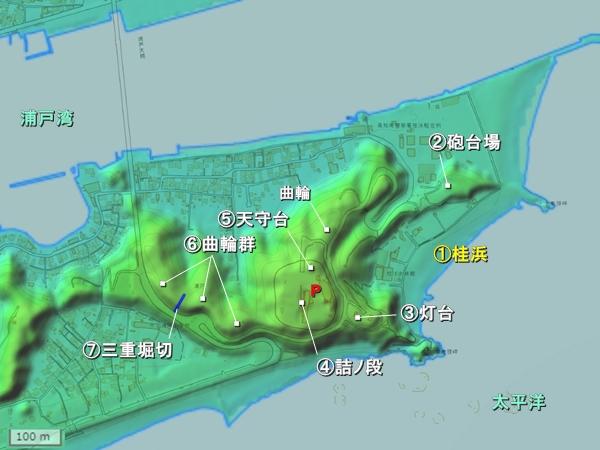 浦戸城地形図
