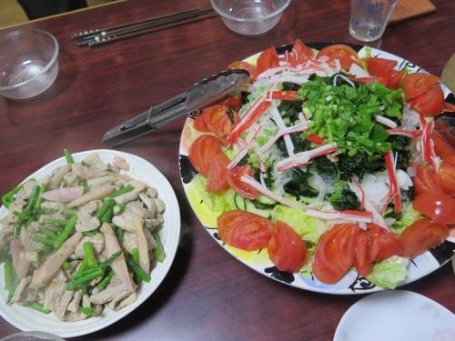 カニカマと海草サラダ、豚バラと岩下の新しょうがとアスパラいため、開華みがき