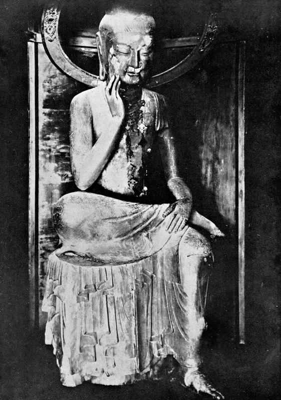 久野健氏入手の明治修理前の宝冠弥勒像安置写真(久野健著「古代朝鮮仏と飛鳥仏」所載)