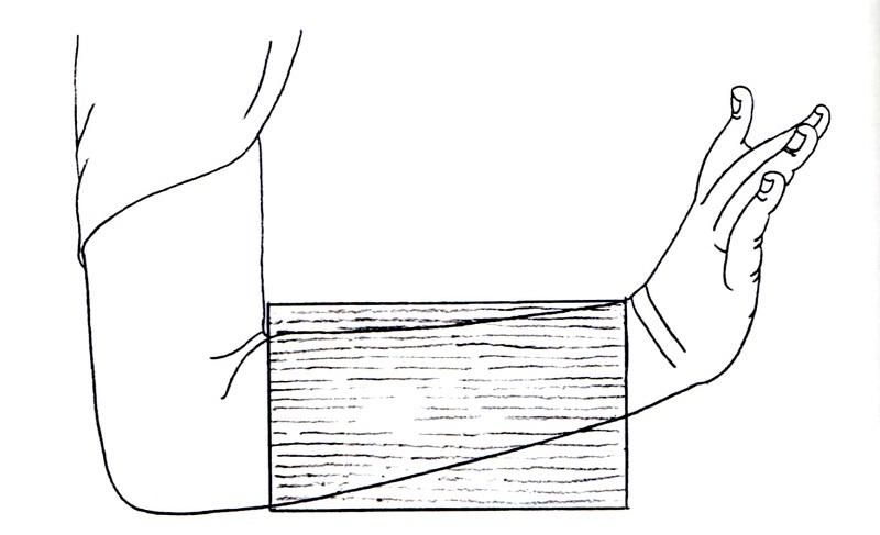 横木材を用いた腕の矧ぎ付け方(通例の矧ぎ付け方)