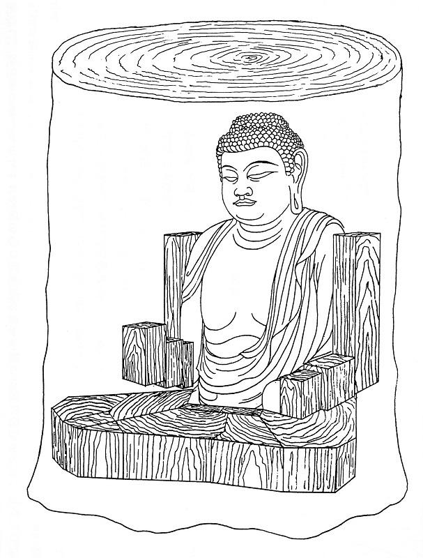 一木から彫り出されたように見せている新薬師寺・薬師像の巨樹イメージ図(山崎隆之氏作成図)