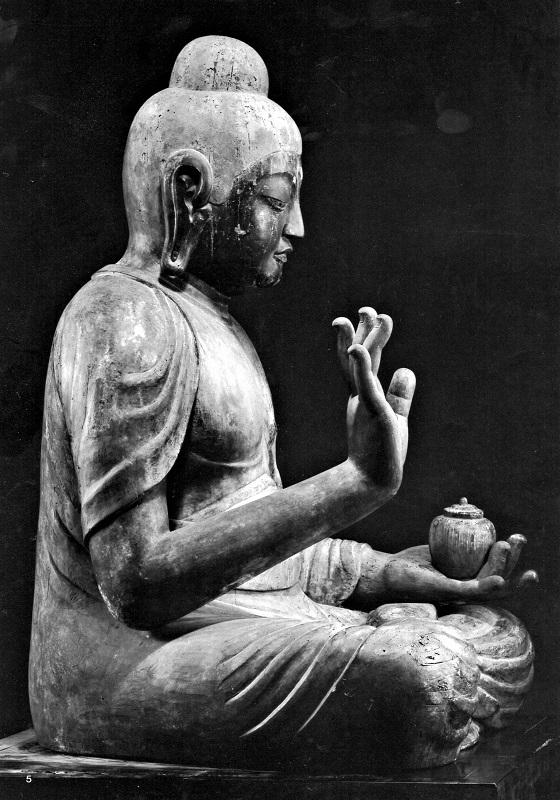 側面から見た古保利薬師像~右手指の大きさ太さが際立つ
