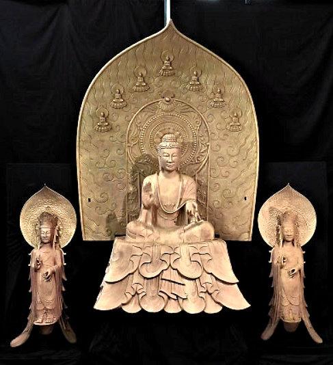 法隆寺・釈迦三尊像のクローン文化財(模造)~鋳造すぐの姿