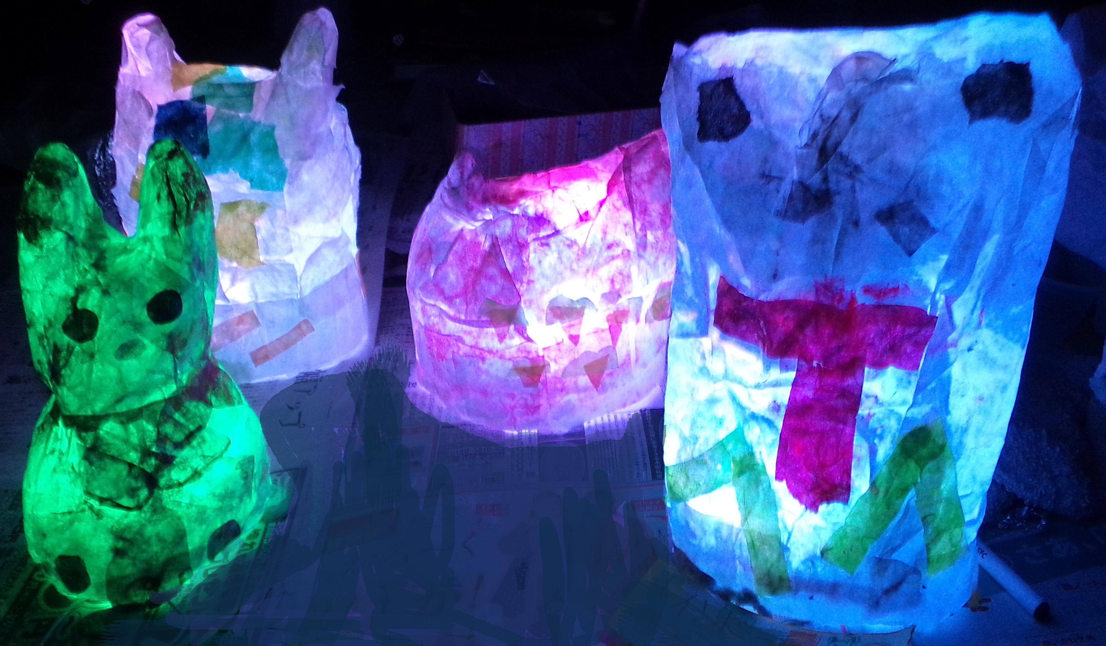 雲龍紙(和紙)で作るランプシェード LEDエッグライトで様々な色に光る