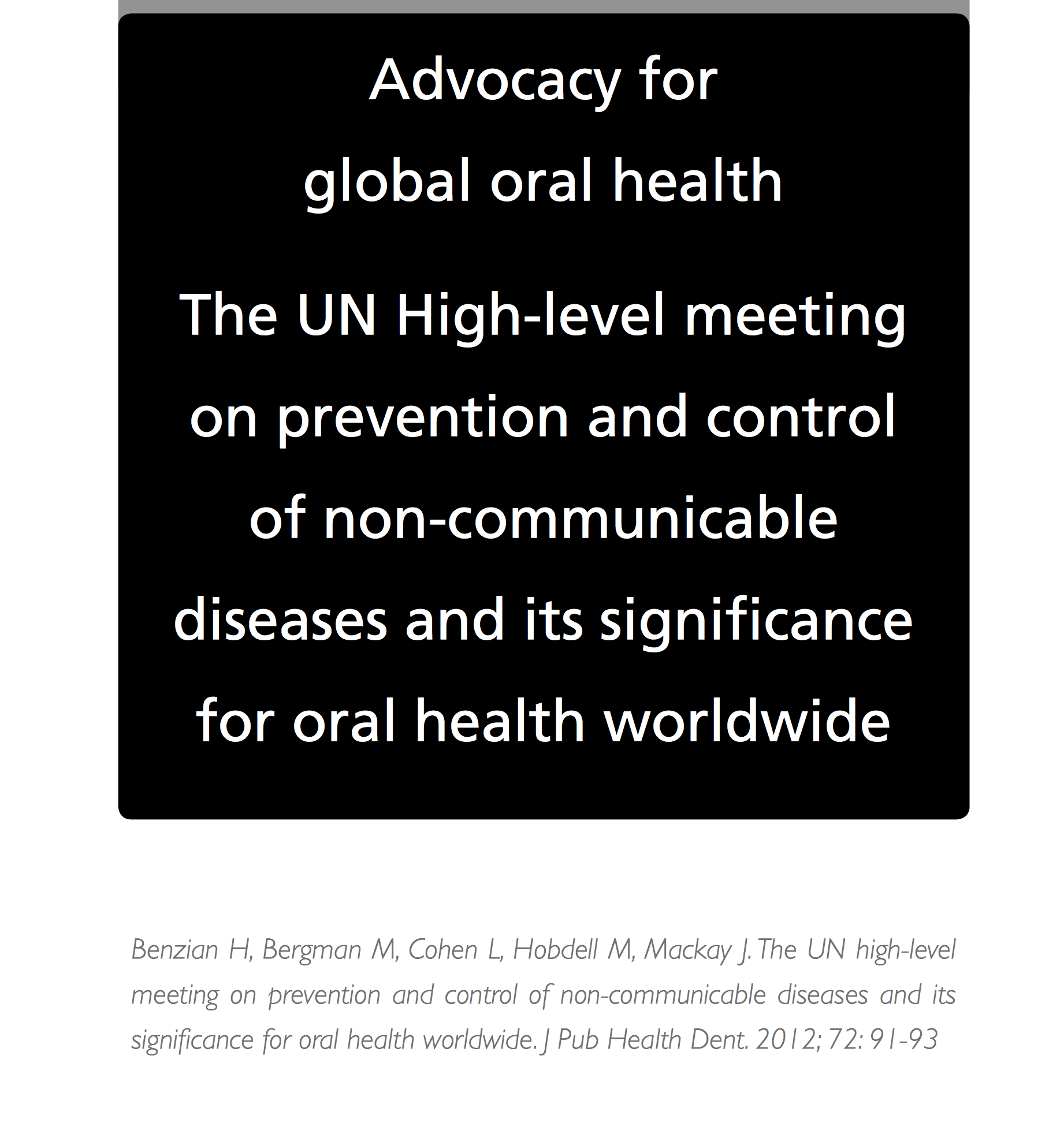 advocacy for global oral health