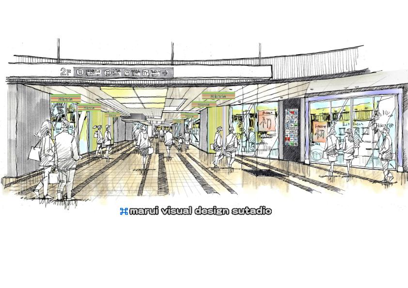 渋谷ヒカリエ2F入口廻り・イメージスケッチ