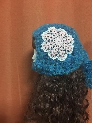 20170702 頭巾型帽子 ドイリー付き