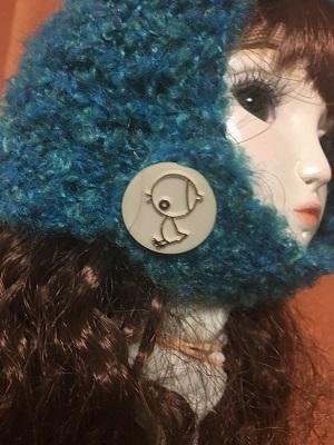 20170702 頭巾型帽子 ボタンはヒヨコ