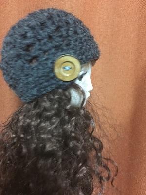 20170702 ウール100% 冬用帽子 木製ボタン