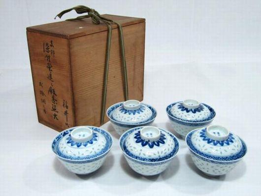 康煕年製 蛍手青華蓋 茶碗