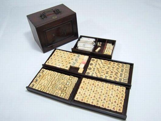 古い麻雀牌 唐木 元箱付