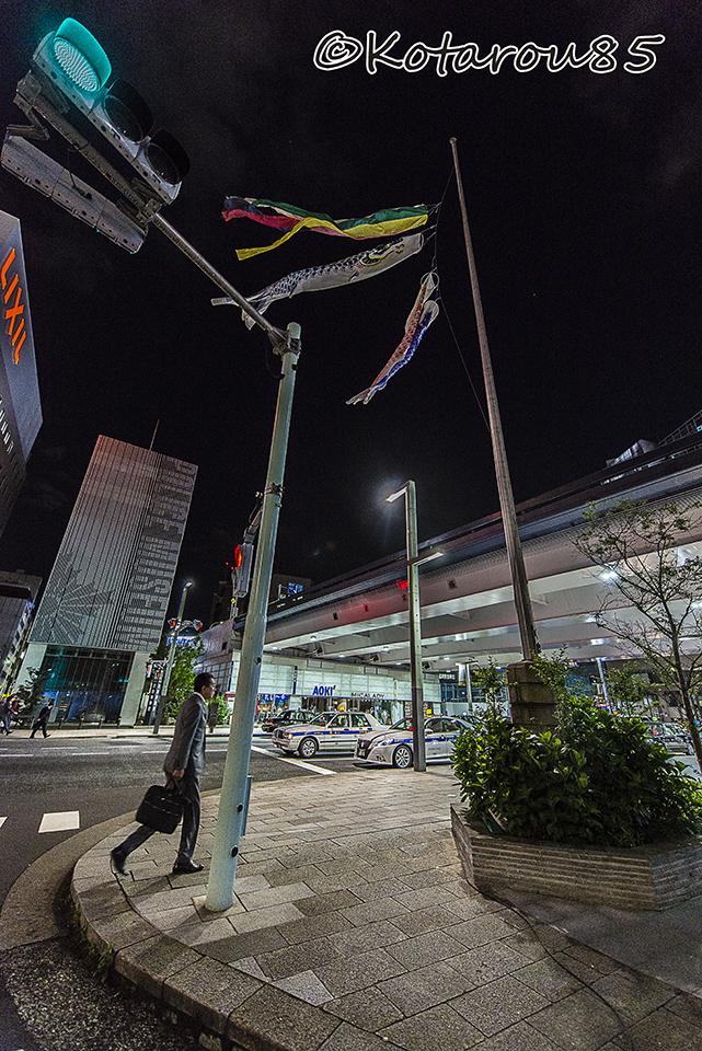 京橋の夜空に鯉のぼり 20170502