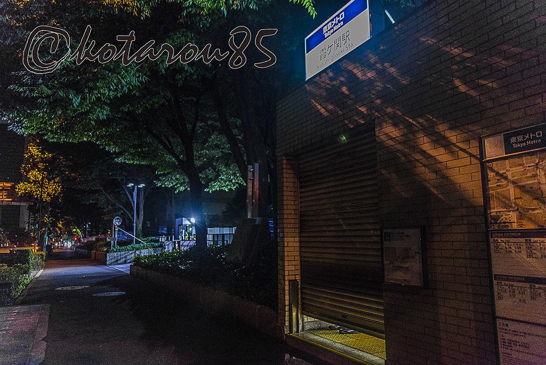 終電出発、シャッター下ろされる駅  20170626
