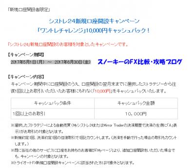 シストレ24「ワントレチャレンジキャンペーン」2017年5月