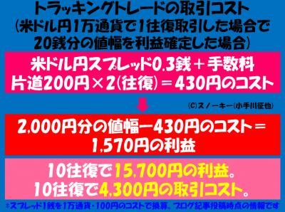 トラッキングトレードの取引コスト1万通貨版2017