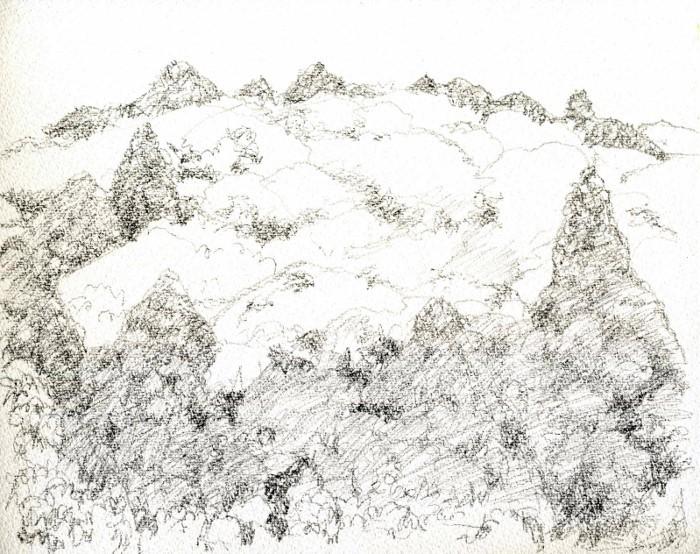 猪名川の春山 デッサン - コピー (700x554)