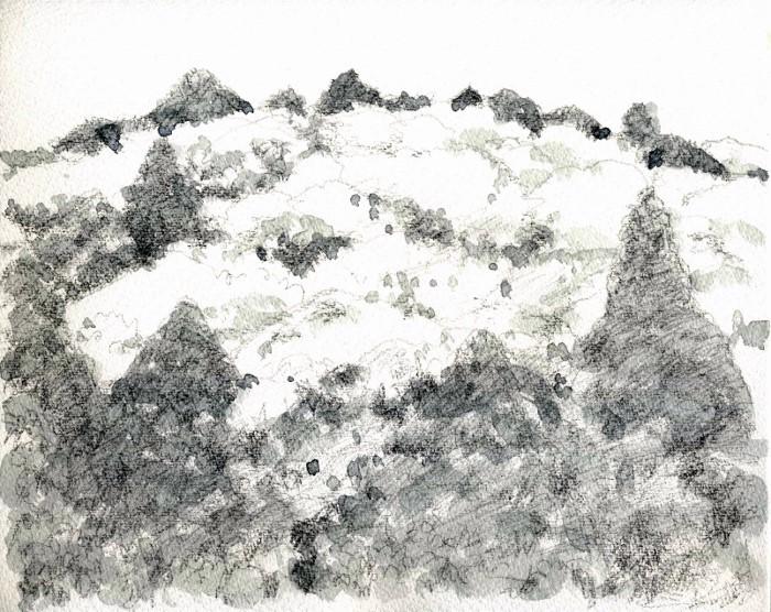 猪名川の春山 グリザイユ (700x556)