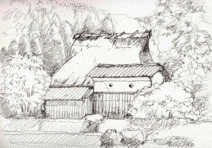 兵庫の農家 デッサン (700x490)