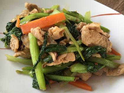 豚肉と小松菜の焼き肉のタレ炒め