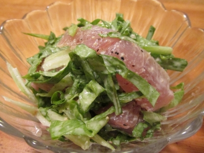 キンメ生ハムのサラダ3