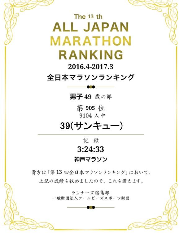 2016-17全日本マラソンランキング証明書(モザイク)