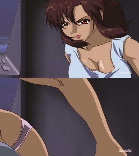 ガンダムSEED HDリマスター版 マリュー・ラミアスの胸裸ヌード乳揺れシーン胸の谷間とパンツ10