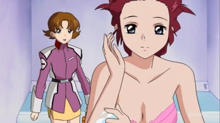 ガンダムSEED HDリマスター版 フレイ・アルスターの胸裸ヌード着替えシーン下着姿ブラ5
