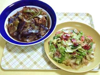 170428_4615 豚コマ肉と茄子の黒酢煮・レタスとベーコンの旨塩炒めVGA