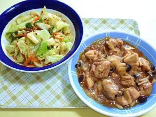 170502_4625 財田さんの料理・茹でキャベツのにんにく醤油和え・鶏もも肉と玉葱の甘酢あんVGA