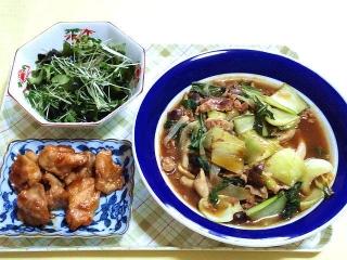 170516_4644 ブロッコリースプラウトとワカメの酢の物・鶏ももの照り焼き・チンゲンサイの甘酢炒め煮VGA