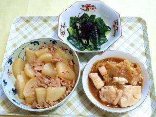 170519_4647 胡瓜と昆布の塩麹和え・肉味噌大根・鶏むね肉と白菜の中華味噌炒め煮VGA