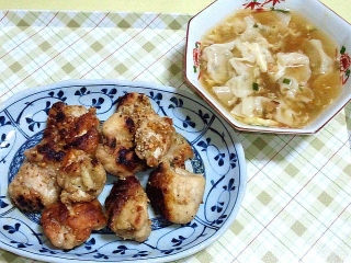 170620_4743 鶏もものピリ辛漬け焼き・ミニ餃子入り中華スープVGA