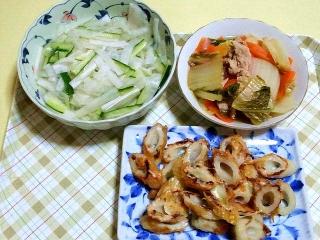 170620_4742 大根と胡瓜の甘酢漬け・白菜の和風煮物・竹輪のチーズ焼きVGA
