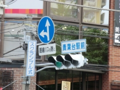 一般車両を入れないための指定方向標識